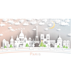 paris france city skyline in paper cut style vector image