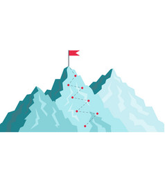 path in mountain success journey with goal in vector image