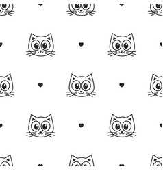 Pattern with cute cats and hearts vector
