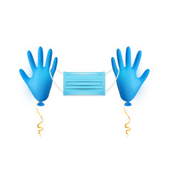 Realistic blue medical latex glove balloon with vector