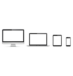 realistic set of monitor laptop tablet vector image