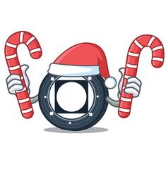 Santa with candy byteball bytes coin mascot vector