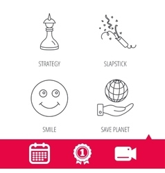 Save planet slapstick and strategy icons vector