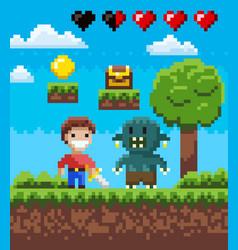 Screen pixel game knight hero and geek vector