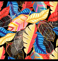 Seamless bright autumn pattern with colorful vector