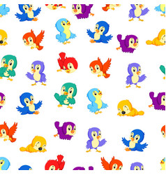 seamless pattern with birds different color vector image