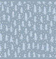 seamless pattern with winter spruce forest drawn vector image