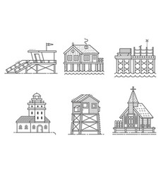 Seaside buildings set vector