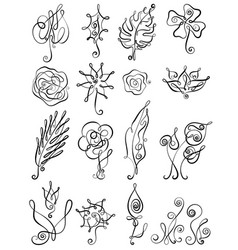 set floral icon in line art design vector image