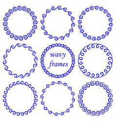set of round wavy blue frames on white background vector image