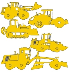 Set silhouettes road construction equipment vector image