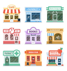 Shop fronts collection exterior design vector