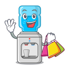 Shopping electric water cooler against the cartoon vector