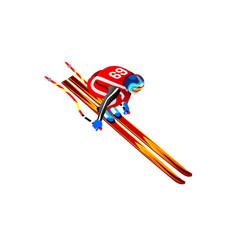 skier jump clipart 3d vector image
