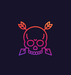 skull with arrows linear icon vector image