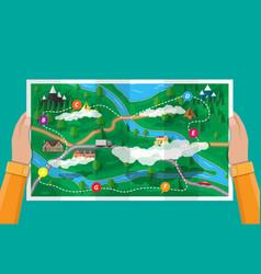 Suburban paper nature map gps and navigation vector