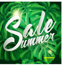 Summer sale tropical design with palm leaves vector