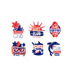 surfing club retro logo design collection extreme vector image