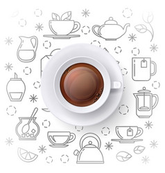 tea time concept with realistic top view vector image