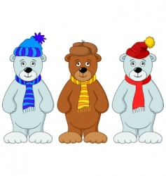 teddy bears in winter costume vector image