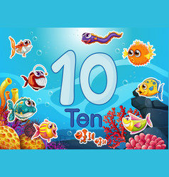 Ten diffrent underwater fish vector
