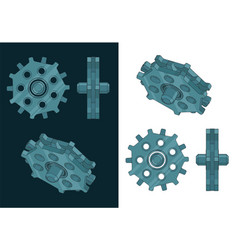 Toothed gear for chain drive color drawing vector