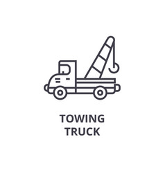 Towing truck line icon sign vector