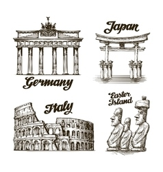 Travel Hand drawn sketch Germany Japan Italy vector image