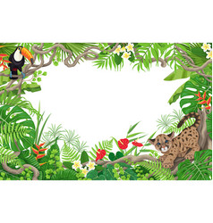 tropical frame with cougar cub and toucan vector image