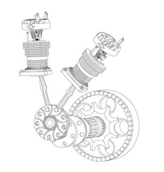 two pistons and crankshaft on a white vector image