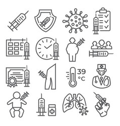 vaccine line icons set on white background vector image