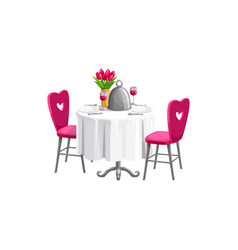 valentines day dinner table and chairs vector image