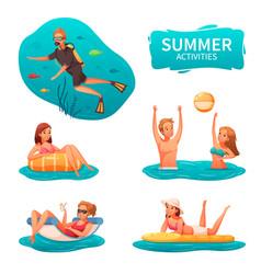 water sports cartoon set vector image