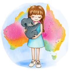 watercolor girl with koala on australian rainbow vector image