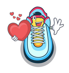 with heart cartoon sneaker with rubber toe vector image