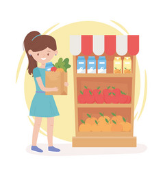 woman cartoon with grocery paper bag and shelf vector image