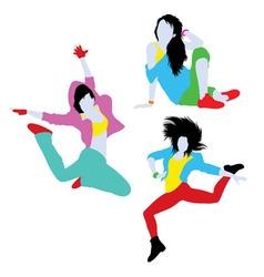 Break Dancing Silhouettes vector image vector image