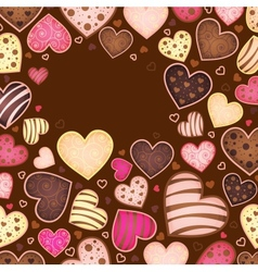 chocolate background for text with heart vector image