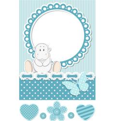 Happy baby hippo blue scrapbook set vector image vector image
