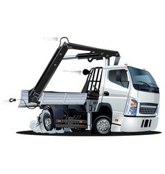 Cartoon Lkw Truck with Crane vector image vector image
