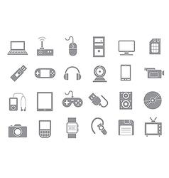 Computer technologies gray icons set vector image