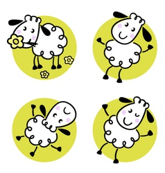 doodle sheep set vector image vector image