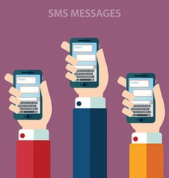 Hands holding smartphone with sms call and send vector image vector image