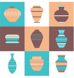 pottery icon set vector image