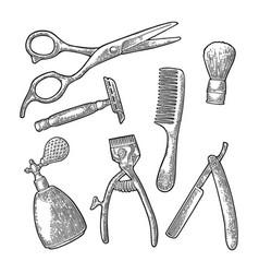set tool for barbershop black vintage vector image vector image