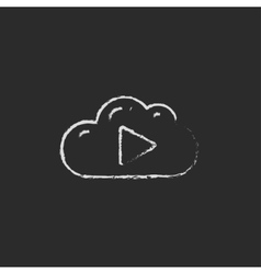 Cloud with play button icon drawn in chalk vector image