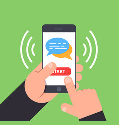 concept of mobile chat use the phone to exchange vector image vector image