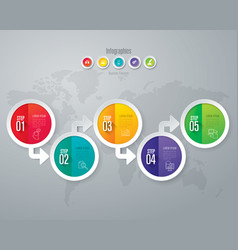 infographics design with 5 step vector image