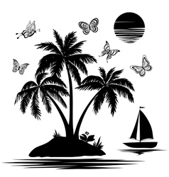 Island with palm ship butterflies silhouettes vector image vector image