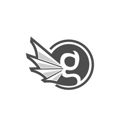 letter g circle with gargoyle wing style vector image vector image
